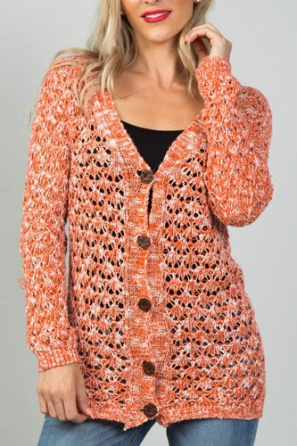 Ladies fashion button down closure crochet knitted color-block cardigan-id.CC35986b