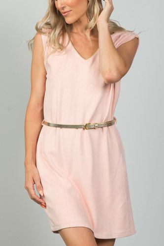 Ladies fashion gold rope neckline applique pink faux suede belted mini dress-id.CC35988