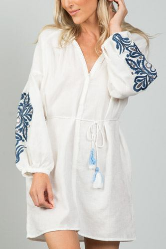 Ladies fashion embroidered sleeves boho dress-id.CC35990