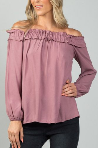 Ladies fashion  off the shoulder frill top-id.CC35991