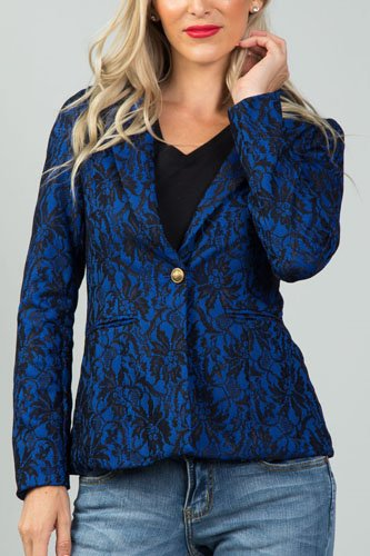 Ladies fashion navy and black lace overlay jacket-id.CC35995