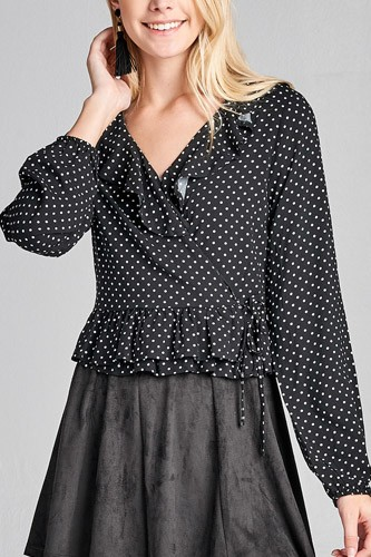 Ladies fashion long sleeve v-neck w/ruffle wrap side ribbon tie dot print woven top-id.CC35996