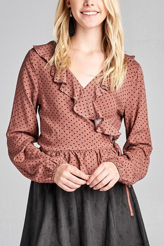 Ladies fashion long sleeve v-neck w/ruffle wrap side ribbon tie dot print woven top-id.CC35996a