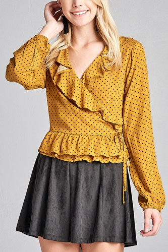 Ladies fashion long sleeve v-neck w/ruffle wrap side ribbon tie dot print woven top-id.CC35996b