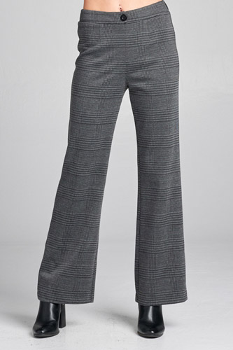 Ladies fashion waist band w/button long wide check pants -id.CC35999