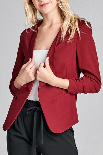 Ladies fashion 3/4 shirring sleeve open front woven jacket-id.CC36000a
