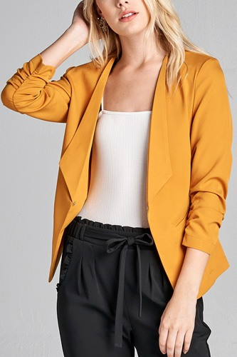 Ladies fashion 3/4 shirring sleeve open front woven jacket-id.CC36000d
