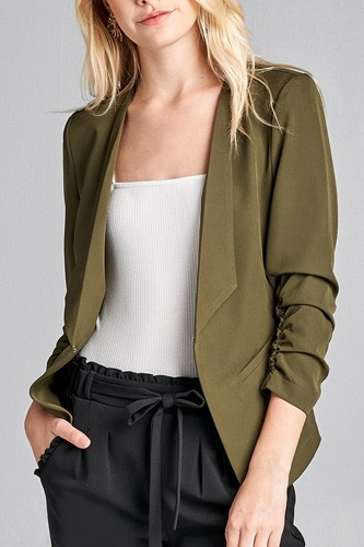 Ladies fashion 3/4 shirring sleeve open front woven jacket-id.CC36000f