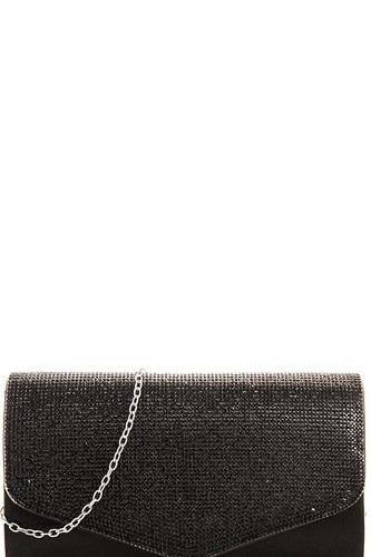 Chic multi rhinestone party clutch with chain-id.CC36001