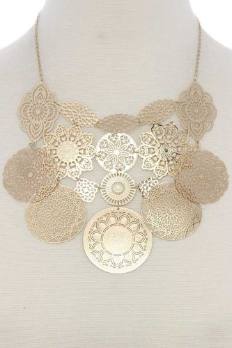 Filigree geometric shape linked short necklace -id.CC36011
