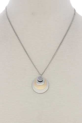 Circle linked pendant short necklace-id.CC36012