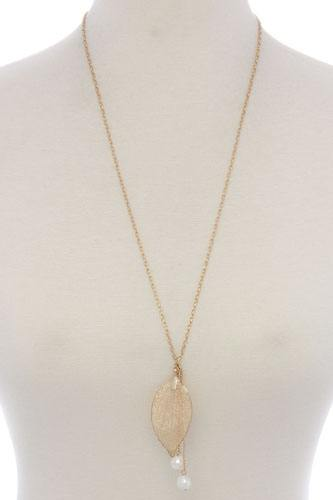 Leaf pearl pendant necklace-id.CC36020