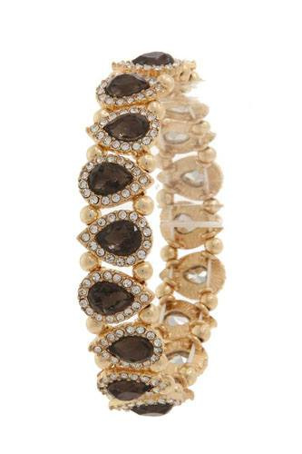 Pave tear drop shape stretch bracelet-id.CC36022