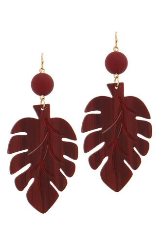 Acetate tropical leaf bead drop earring-id.CC36035