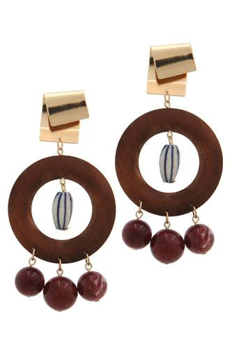 Cut out circle bead drop earring-id.CC36039