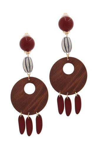 Cut out circle wood bead drop earring-id.CC36040