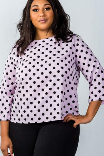 Ladies fashion plus size roll-up sleeve polka dot print top-id.CC36058