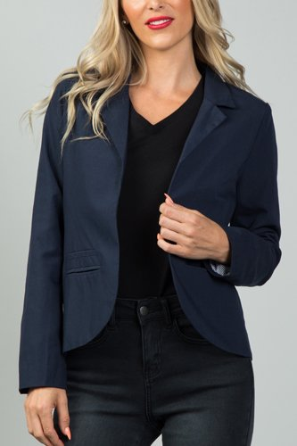 Ladies fashion navy open front blazer-id.CC36059