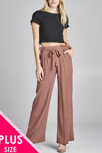 Ladies fashion plus size self ribbon detail long wide leg dot print woven pants-id.CC36061a