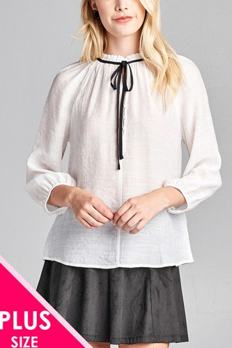 Ladies fashion plus size 3/4 sleeve contrast tie front button detail slub gauze woven top-id.CC36062