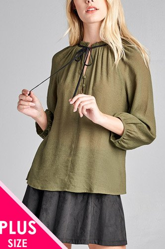 Ladies fashion plus size 3/4 sleeve contrast tie front button detail slub gauze woven top-id.CC36062b