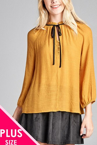 Ladies fashion plus size 3/4 sleeve contrast tie front button detail slub gauze woven top-id.CC36062c