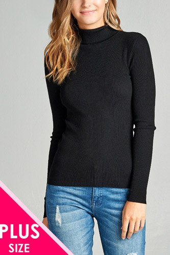 Ladies fashion plus size long sleeve turtle neck fitted rib sweater top-id.CC36063
