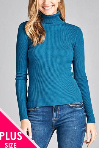 Ladies fashion plus size long sleeve turtle neck fitted rib sweater top-id.CC36063b