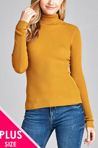 Ladies fashion plus size long sleeve turtle neck fitted rib sweater top-id.CC36063d