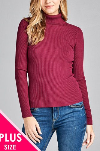 Ladies fashion plus size long sleeve turtle neck fitted rib sweater top-id.CC36063h