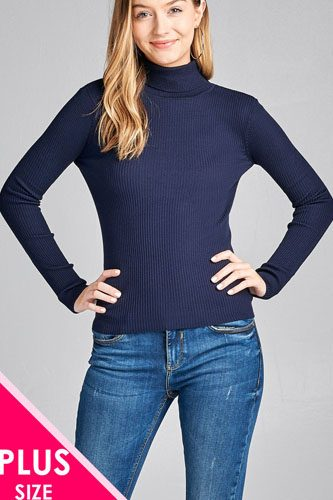 Ladies fashion plus size long sleeve turtle neck fitted rib sweater top-id.CC36063i