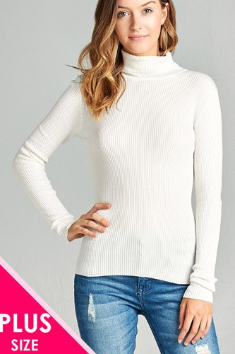 Ladies fashion plus size long sleeve turtle neck fitted rib sweater top-id.CC36063j