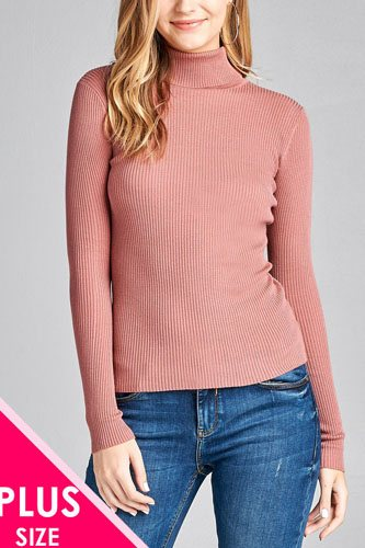 Ladies fashion plus size long sleeve turtle neck fitted rib sweater top-id.CC36063k