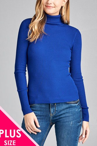 Ladies fashion plus size long sleeve turtle neck fitted rib sweater top-id.CC36063l