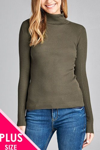 Ladies fashion plus size long sleeve turtle neck fitted rib sweater top-id.CC36063m
