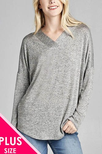 Ladies fashion plus size long sleeve v-neck two tone hacci tunic top-id.CC36064