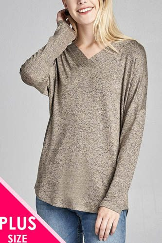 Ladies fashion plus size long sleeve v-neck two tone hacci tunic top-id.CC36064a