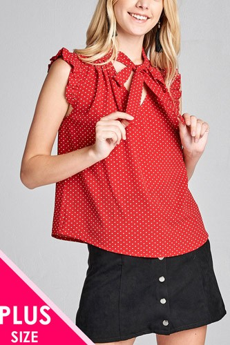 Ladies fashion plus size short ruffle sleeve self tie dot print crepe woven top-id.CC36065