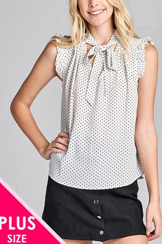 Ladies fashion plus size short ruffle sleeve self tie dot print crepe woven top-id.CC36065b