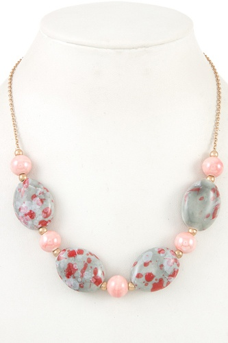 Gemstone oval bead necklace-id.CC36076
