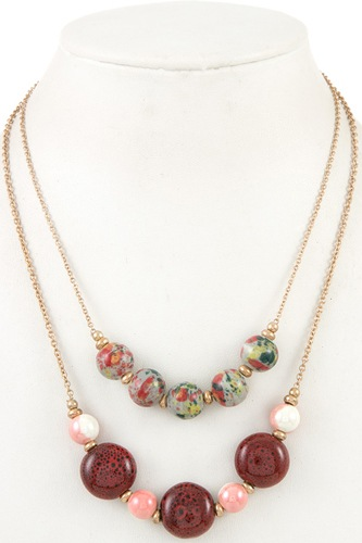Double row ball bead necklace-id.CC36077