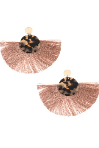 Acetate disk fan out fringe earring-id.CC36088