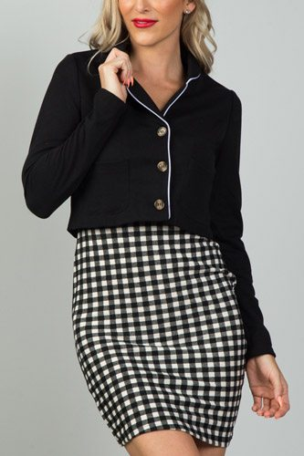 Ladies fashion black and white detail open front cropped blazer-id.CC36116