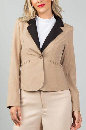 Ladies fashion khaki contrast collar open blazer-id.CC36117