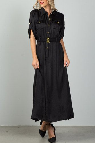 Ladies fashion button down elastic belted maxi dress-id.CC36118