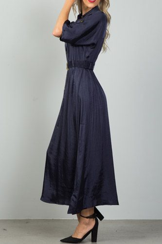 Ladies fashion button down elastic belted maxi dress-id.CC36118a