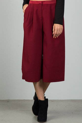 Ladies fashion burgundy pleat detail wide leg culottes-id.CC36120