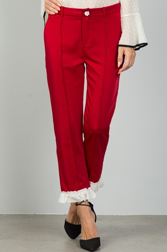 Ladies fashion red contrast ruffle hem ankle pants-id.CC36125