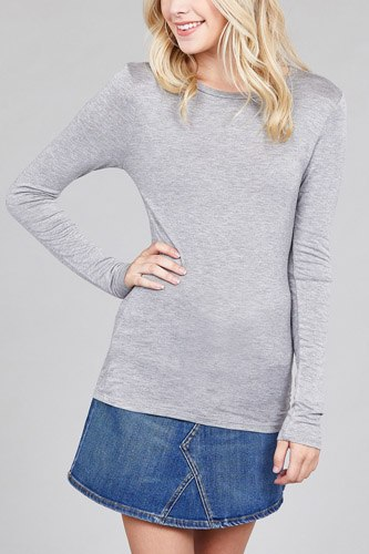 Ladies fashion long sleeve crew neck top rayon spandex jersey top-id.CC36126g