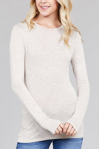 Ladies fashion long sleeve crew neck top rayon spandex jersey top-id.CC36126h